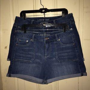 2 pair Lane Bryant denim shorts